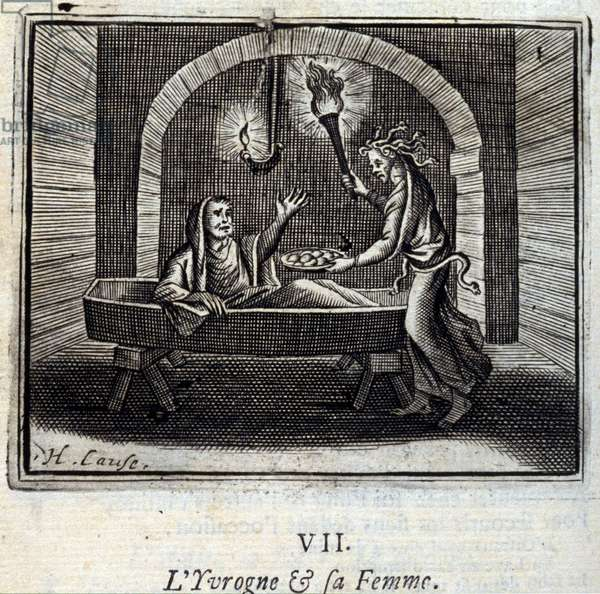 The Drunk and his wife. Fables by Jean de La Fontaine (1621-95). Illustration by François Chauveau (1613-1676). Edition of 1728.