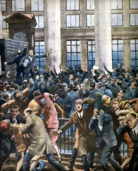The Wall Street 'Crash' 29 October 1929 - The Wall Street Stock Crash in New York, 1929 First page of the Italian newspaper Illustrazione del Popolo, November 1929: panic at Wall Street during the stock market crash of October 24, 1929 (Black Thursday) - the Wall Street 'Crash' 29 October 1929, Illustration: Alfredo Ortelli Illustrazione del Popolo November 1929 scholarship USA USA USA United States color 1920-1929 years 20's
