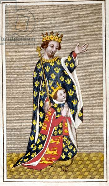 Portrait of Richard III (1452 - 1485) child and his father Richard of York. Engraving from the end of the 18th century. Biblioteca di Brera, Milan.