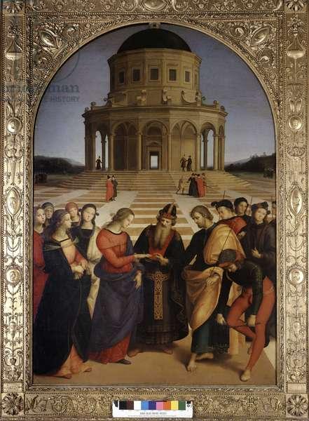 The wedding of the Virgin, by Raphael (Raffaello Sanzio 1483 - 1520), oil painting, 1504, Pinacotheque of Brera, Milan.