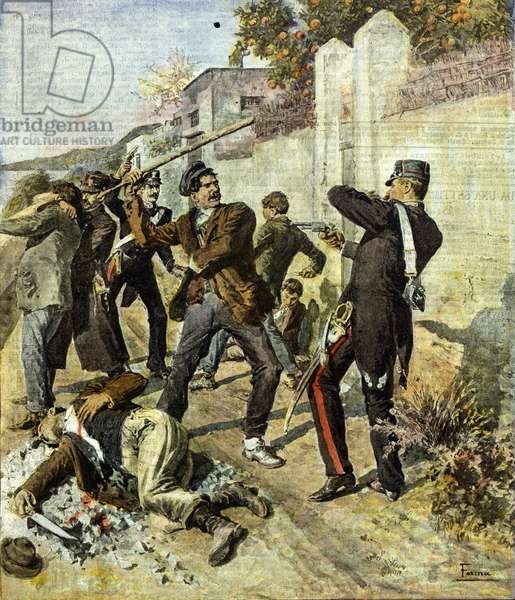 Clashes between members of the Camorra and the Carabinieri (gendarmes) in Vico Equense near Naples, 1908