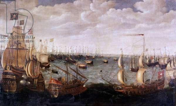English bullets attack the Invincible Armada.