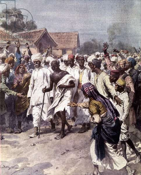 """Indian political leader and spiritual guide Mohandas Karamchand Gandhi (1869-1948) (Mahatma) began on 12/03/1930 a salt march to obtain India's independence from the British. Illustration of Achille Beltrame from """"La domenica del Corriere"""""""" 1930"""