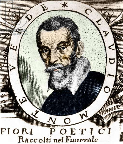 Portrait of Claudio Monteverdi after the frontispiece of Fiori poetici raccolti nel funerale del molto illustrious e molto reverendo Signor Claudio Monteverdi, published in Venice in 1644.
