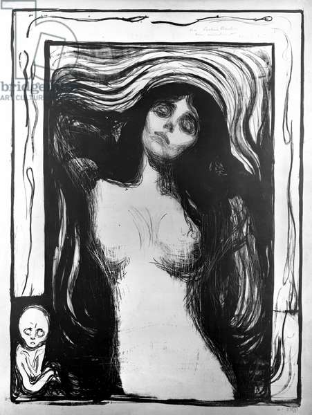 Madonna, lithograph by Edvard Munch dedicated to Dr. Bucher.