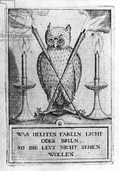 """Owl with glasses, symbol of wisdom. Engraving of the """"Amphitheatrum sapientiae aeternae"""". (Amphitheatre of eternal wisdom) (Hamburg: n.n., 1595) by Heinrich Khunrath (1560 circa 1605). Study of Upper Kabbalah and Alchemy. 12 boards. This is the reference work of the Rose-Croix around 1610."""