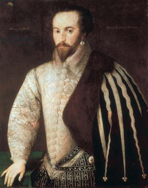 Portrait of Sir Walter Raleigh (1554 - 1618). Painting attributed to Federico Zuccaro (or Zuccari) (1549 - 1609). 1588. London, National Portrait Gallery.