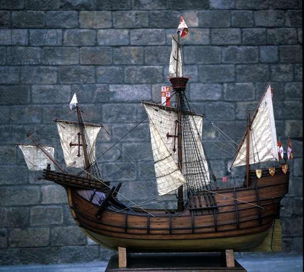 The miniature model of the Santa Maria caravel of C. Columbus.