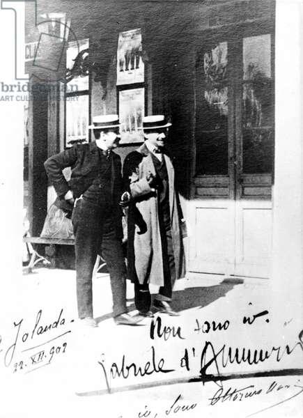 Portrait of Gabriele D'Annunzio and Ottorino Novi in 1902.