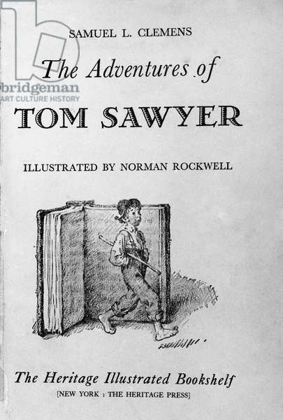 "Frontispice of ""The Adventures of Tom Sawyer"" by American writer Mark Twain, edition illustrated by Norman Rockwell (1894-1978). 20th century"