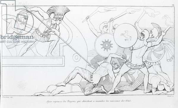 Ajax repels the Trojans who seek to burn the Greek ships. Drawing by John Flaxman (1755 - 1826). Homer's Iliad. Singing XV.