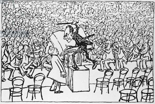 Gustav Mahler conducting, from 'Jugend', 1910 (litho)