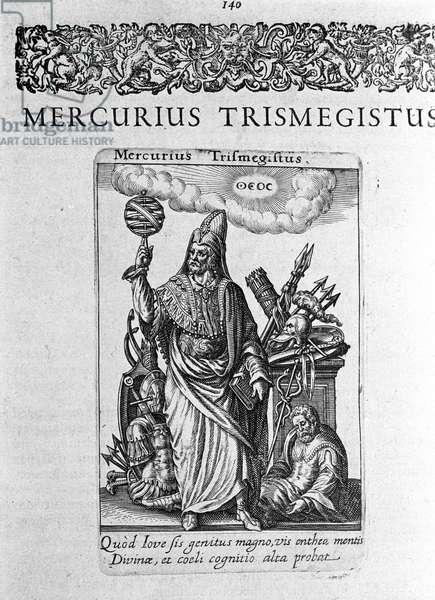"""Portrait of Hermes Trimigiste (Trismegiste) (Trismegistus), astrologer, ideal portrait from a treatise by Jacques Boissard """""""" De divinatione et Magicis"""""""" 1605."""