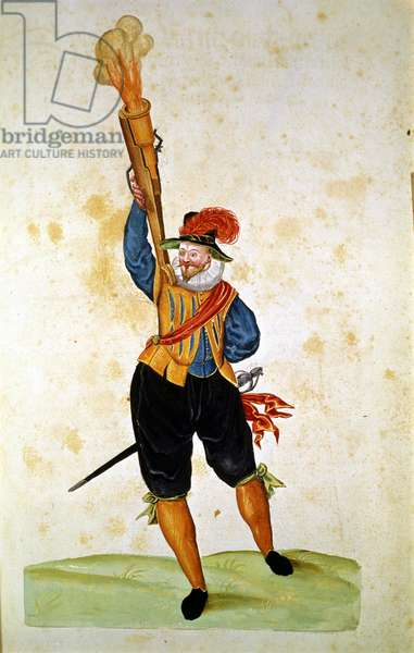 """The first firearms: from the """"Manual of Pirotechnics, Guns and Fortifications"""", 16th century. Bern, Burgerbibliothek."""