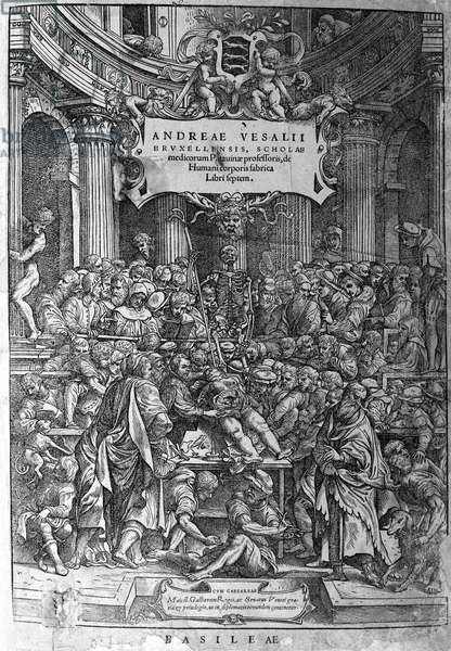"""Anatomical room. Frontispice of the work """"Humani corporis fabrica libri septem 1543"""" by André Vésale (1514-1564), Dutch anatomist (In Latin: Andrea Vesalius, in Dutch: Andries Van Wesel)."""