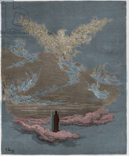 Paradiso, Canto 19  : The blessed souls form an eagle in the sky , illustration from 'The Divine Comedy' by Dante Alighieri, 1885   (digitally coloured engraving)