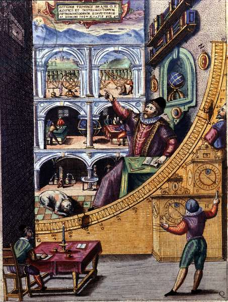 Danish astronomer Tycho Brahe (1546 - 1601) in his observatory in Uranienburg - colour engraving by Atlas Major Ssive and cosmographed Blavania labores and sumptibus by Johannis Blaev
