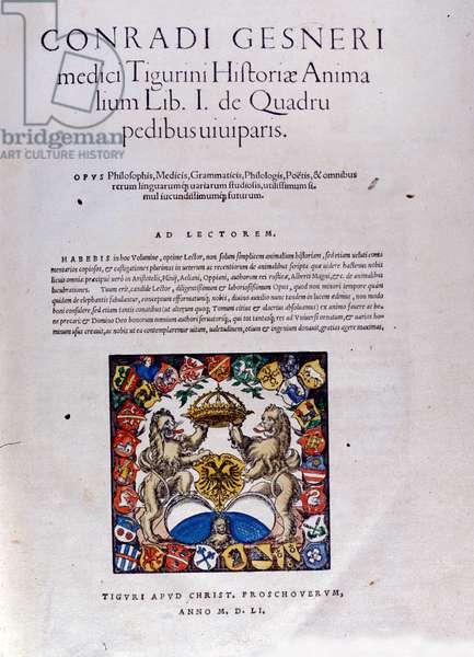 Frontispiece of 'Historiae Animalium' by Conrad Gesner, 1551 (colour litho)