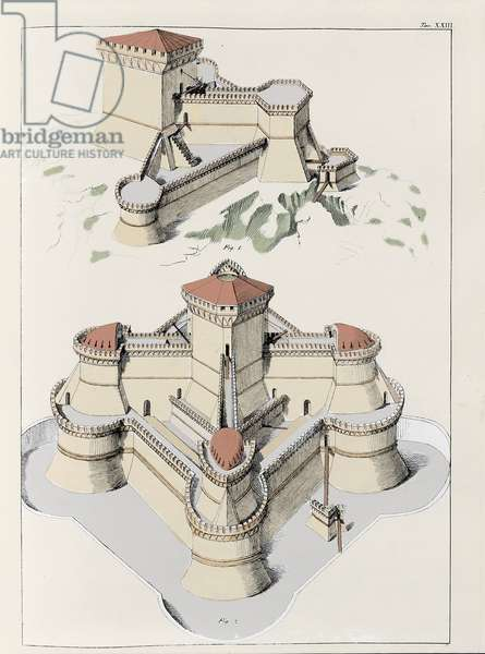 Fortresses built by the defense from all sides - Plate by Francesco di Giorgio Martini (1439-1502) taken from a trade in civil and military architecture