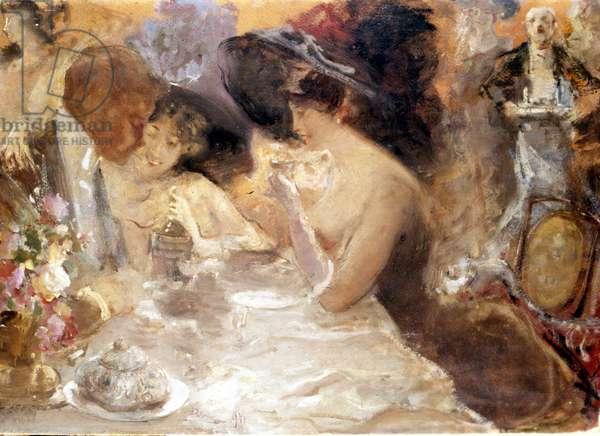Dinner in Monte Carlo. Belle epoch by Pompeo Mariani. Museo del Castello. Milan