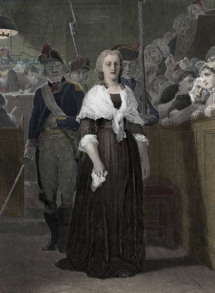 """Queen Marie Antoinette (1755-1793) Convicted by the Revolutionary Court in October 1793"""" (Queen of France Marie-Antoinette (1755-1793) during her trial at the revolutionary court, October 1793)"""