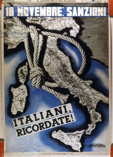 18/11/1935. Poster representing foreign Italy by a noose. Economic sanctions are being imposed on Italy by the League of Nations because of the invasion of Ethiopia.