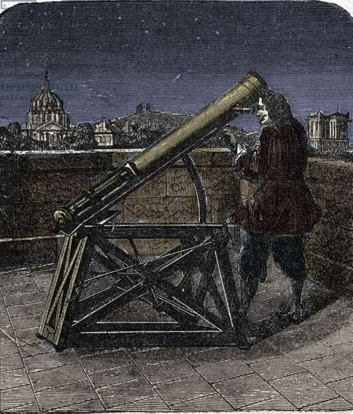 Isaac Newton (1642-1727) English physicist using his telescope.