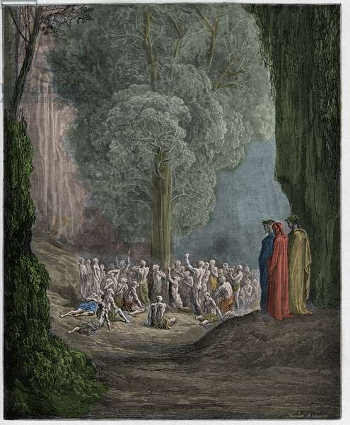Purgatorio, Canto 24 : The gluttonous souls crying out beneath the tree, illustration from 'The Divine Comedy' by Dante Alighieri, 1885  (digitally coloured engraving)