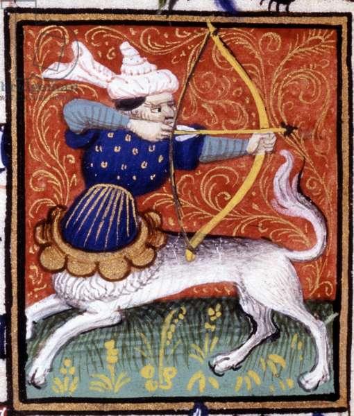 The Sagittarius. Miniature of a horoscope. 15th century manuscript. Bibl. Trivulziana, Milan.