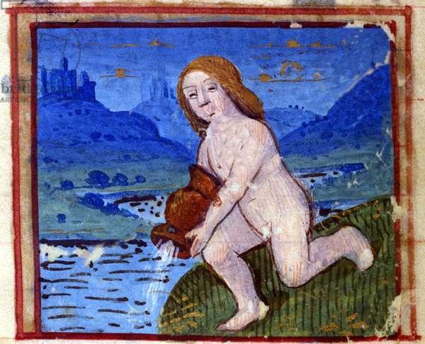 Sign of Aquarius. Italian Horoscope, mid-15th century.