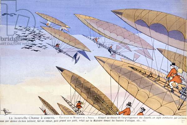 """Caricature by Albert Guillaume (1873-1942) in """"""""L'Assiette au beurre"""""""" of 1901: aerostat hunting with attack hawks."""