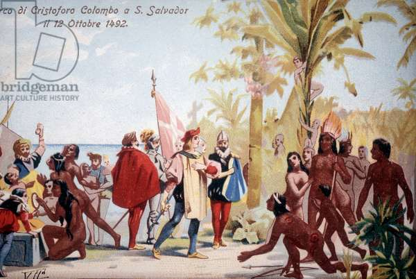 The landing of Christopher Columbus in San Salvador (Bahamas) on 12/10/1492. Chromolithography 19th century.
