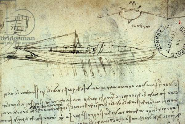 Study of boat equipped with a series of oars by Leonard de Vinci (Leonardo da Vinci) (1452 - 1519). Drawing with pen and ink. Manuscript. Library of the Institut de France. Paris.