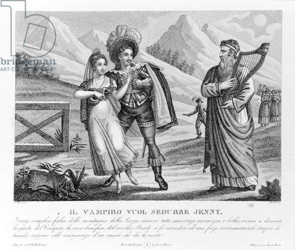 The Vampire Seduces Jenny, illustration from 'The Vampyre' by John William Polidori (engraving)