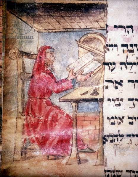 A Jewish Doctor at his Desk (vellum)