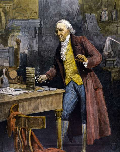 Alessandro (Alexander) Volta (Count), (1745 - 1827). Inventor of the electric battery (1800). Engraving of the 19th century.