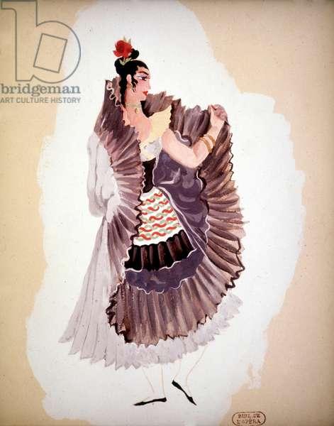 Costume Design for 'Le Bolero' by Maurice Ravel, 1941 (gouache on paper)