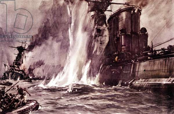 """Second World War: action against English battleships Valiant and Queen Elizabeth thanks to slow torpedoes (""""maiali"""" or SLC) by the special unit of the Italian Military Navy """""""" X° Mas"""" (Decima Flotiglia Mas or X Mas) in the port of Alexandria in Egypt on 19/12/1941. Painting by Vittorio Pisani DR"""