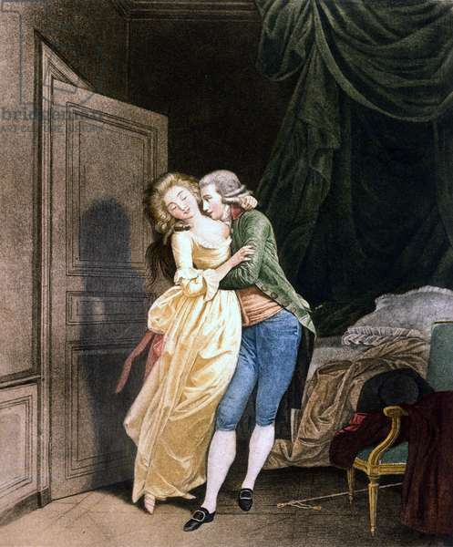 Soft resistance. A man makes advances to a very elegant young woman. Engraving by Boilly, 18th century.