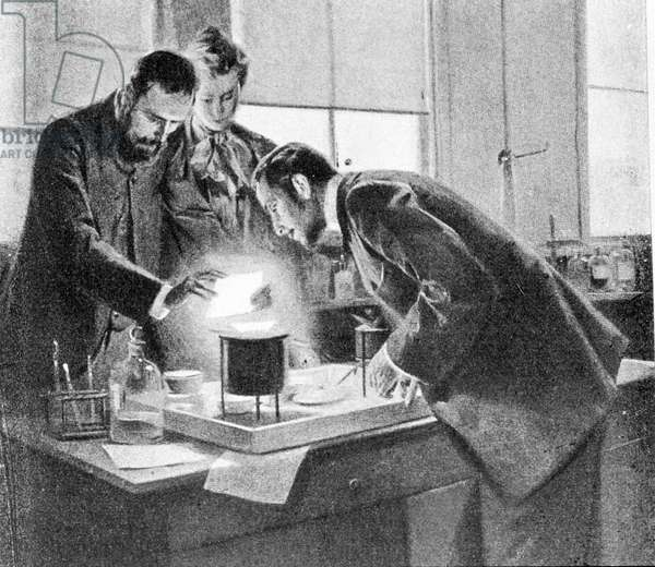 Pierre and Marie Curie in their lab.