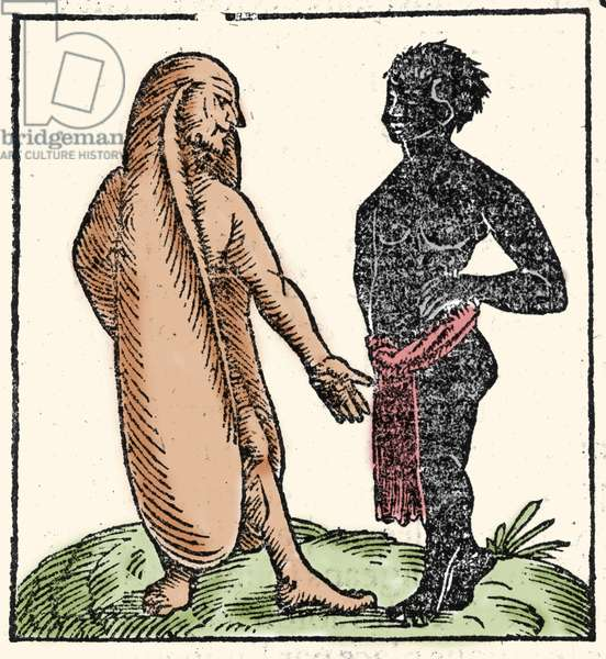 """Monstrous creatures: two African men, one of them with long ears to protect themselves from the sun and the cold. When a situation intimidates them, their ears allow them to fly away. Symbolically they allow them to listen better to the word of God. Xylography taken from Sebastien Munster's """"Universal Cosmography"""". Bale, 1558. Milanese ."""
