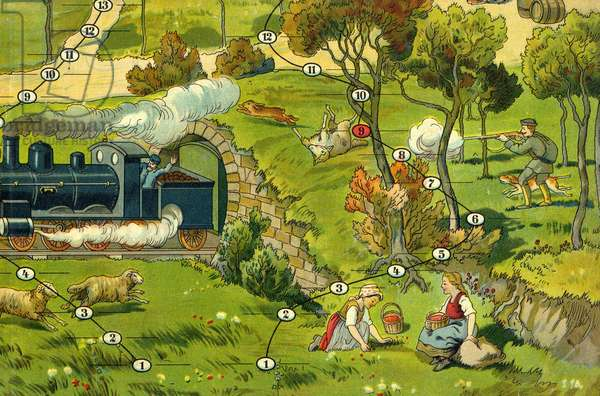 Illustration of the farm game. Italy, early 20th century.