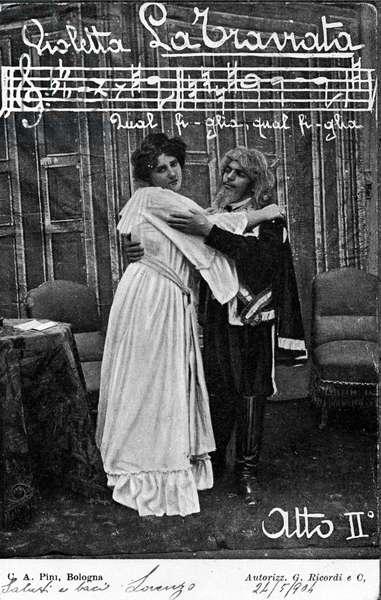 """Violetta Valery and Alfredo's father. Scene of Act II of the opera """"La Traviata"""""""" by Italian composer Giuseppe Verdi (1813-1901), postcard of 1905"""