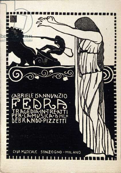 """Cover of the libretto and score of """""""" Fedra"""""""" lyrical work written by Gabriele d'Annunzio and set to music by the composer Ildebrando Pizzetti (1880-1968). 1915"""