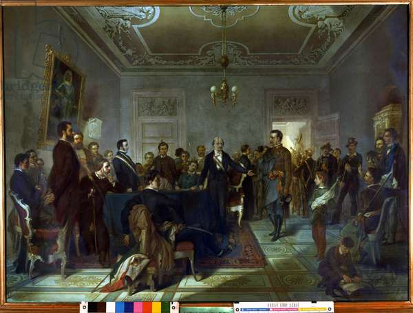 """Risorgimento: The Five Days of Milan (Cinque giornate di Milano) (18-22 March 1848): this is one of the first episodes of the Revolutions of 1848 (part of the First Italian War of Independence) that saw the rise of the Milanese population insurgent against the Austrian occupation of Josef Radetzky. """""""" The Milanese Insurrectional Committee (or War Committee) met in Casa Taverna on 20/03/1848"""""""""""" In the center is the patriot Carlo Cattaneo (1801-1869) one of the founders of this committee together with Enrico Cernuschi, Giulio Terzaghi and Giorgio Clerici. Painting by Carlo Barbieri (1816-?) 1849 Sun. 1,1x1,52 m Museo del Risorgimento. Milan"""