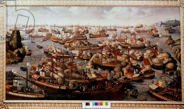 Naval Battle of Lepanto (Lepanto), where the fleet just destroyed the Christian force in 1571 - 16th century painting, Greenwich, National Maritime Museum.