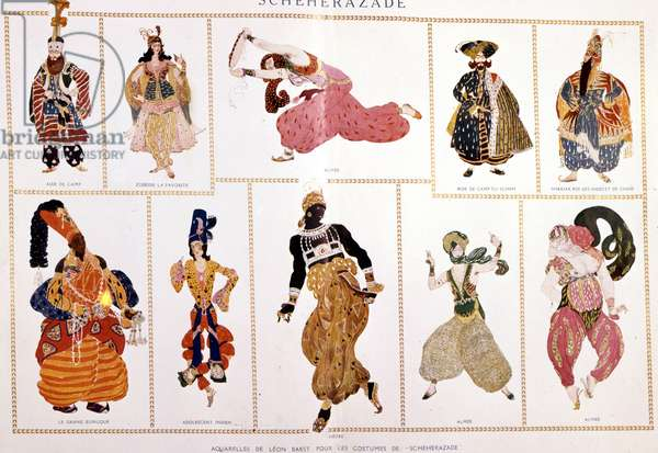 "Costumes for """" Scheherazade"""""" (Sheherazade). by Nicholas (Nikolai) Rimsky Korsakov (Rimski-Korsakov) (1844-1908), directed by Leo Bakst."