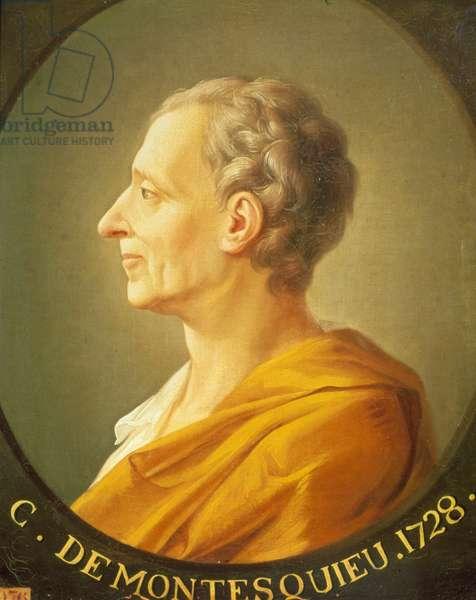 Portrait of Montesquieu (1689 - 1755) in medallion, 1728.
