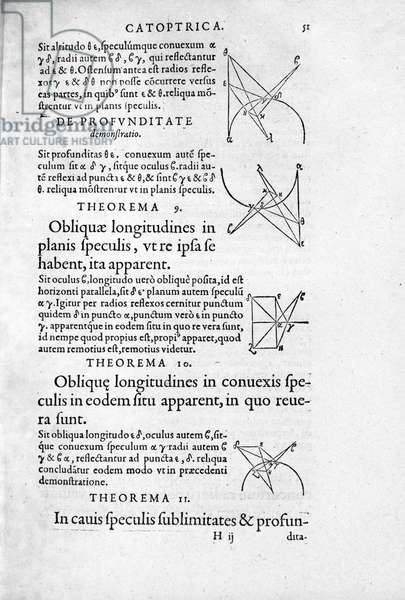 """Page of """""""" Optica & Catoptrica..."""""""" by Euclid, 1557."""