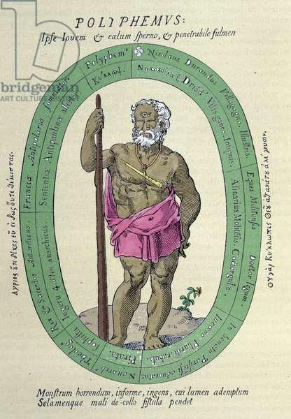 The Cyclops Polypheme (Poliphemus), satyre against Nicolas Durand de Villegagnon, French military and explorer (1510-1571), 1561.